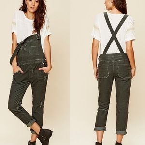 """Free People """"Through The Woods"""" Corduroy Overalls"""